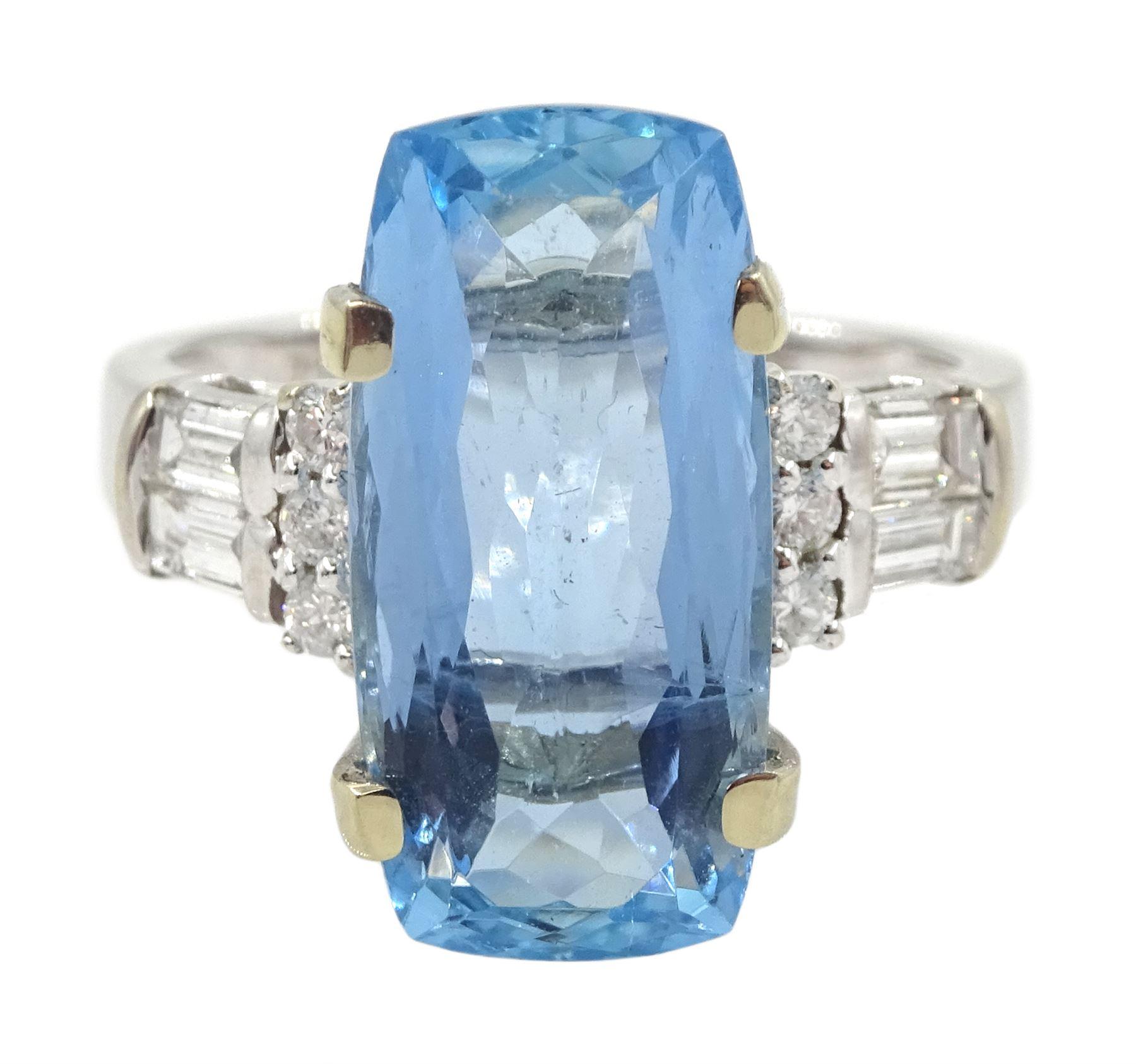 18ct white gold aquamarine ring