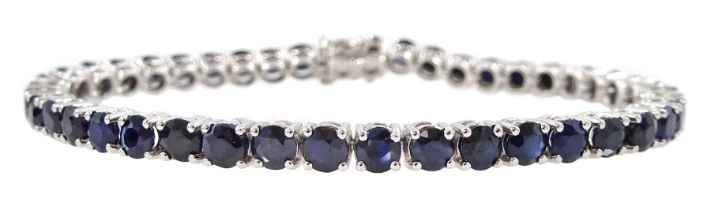 18ct white gold round sapphire line bracelet