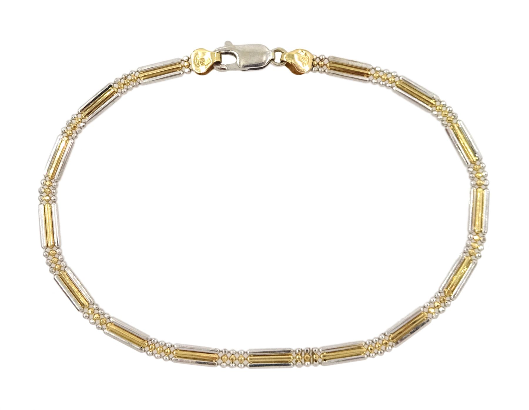 18ct white and yellow gold bead and rectangular link bracelet