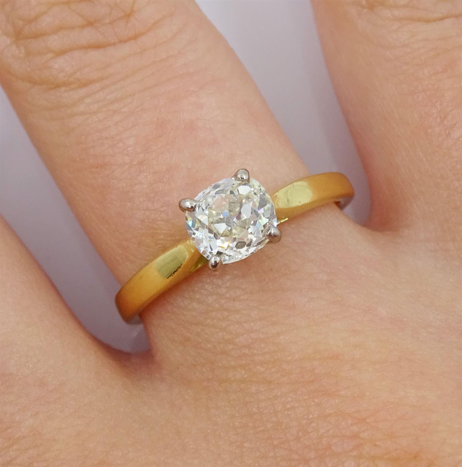 18ct gold single stone old cut diamond ring - Image 2 of 4