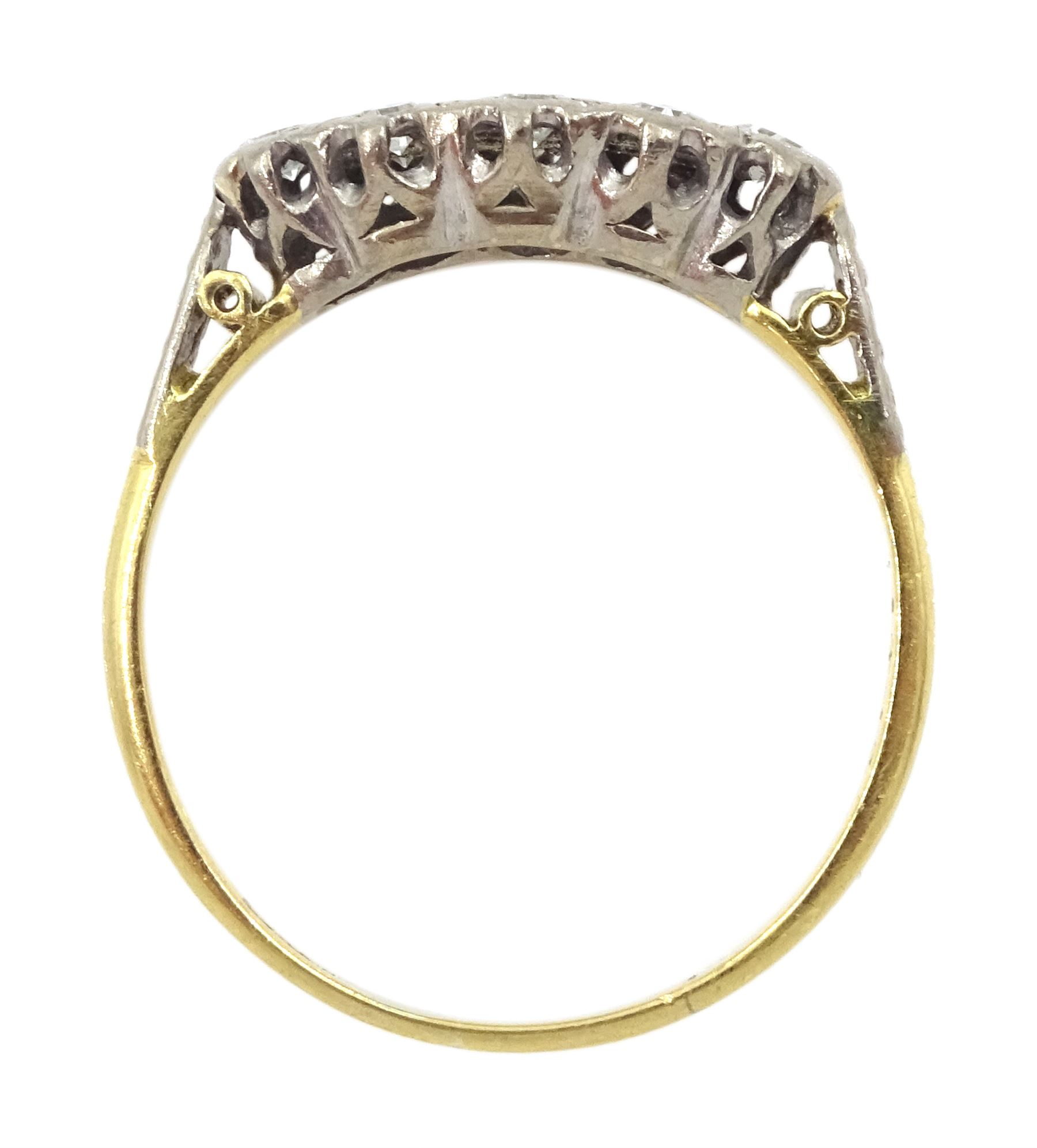 18ct gold two row old cut diamond ring - Image 4 of 4