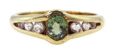 9ct gold oval green and white tourmaline ring