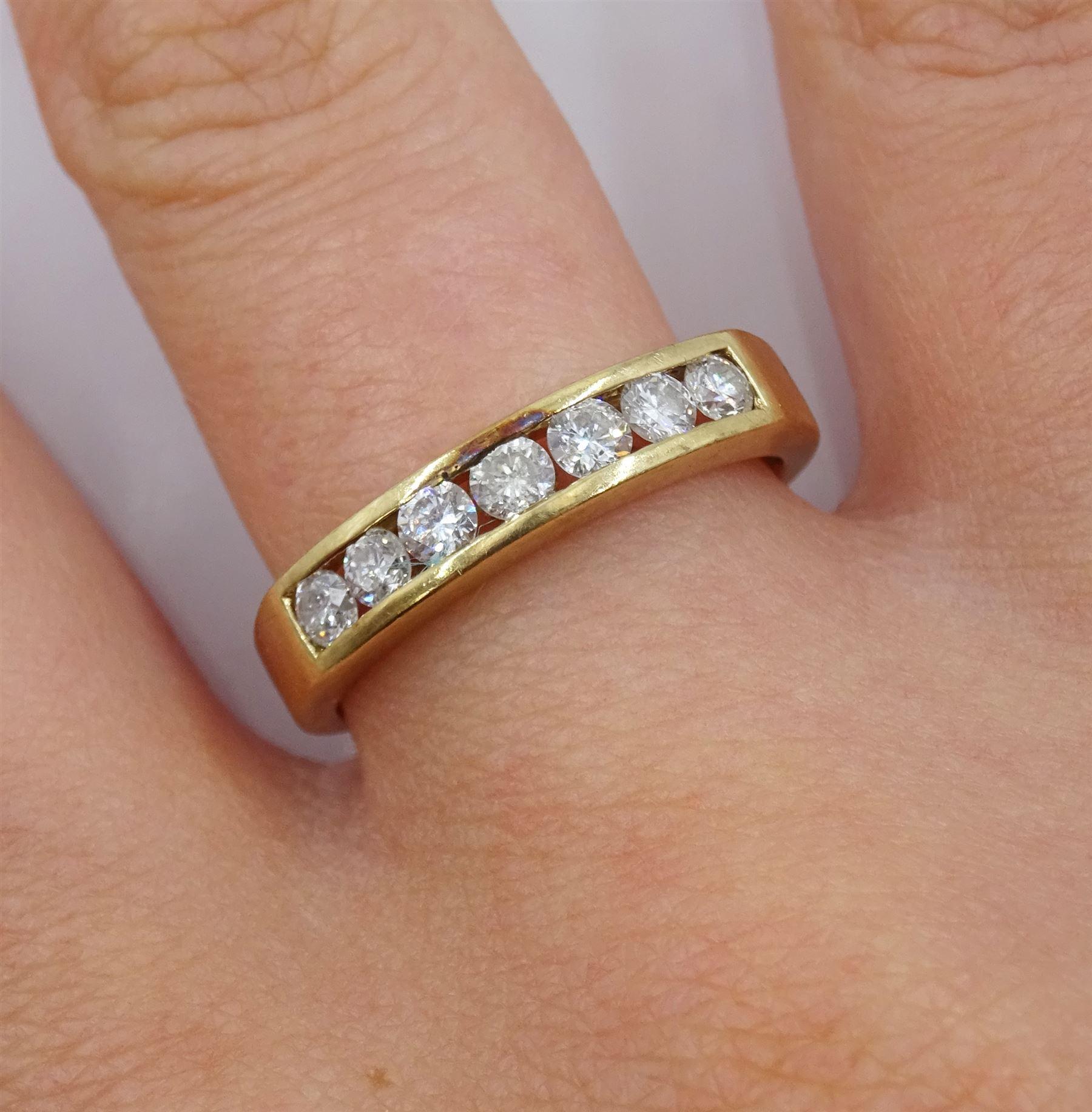 9ct gold round brilliant cut diamond seven stone channel set stone ring - Image 2 of 4