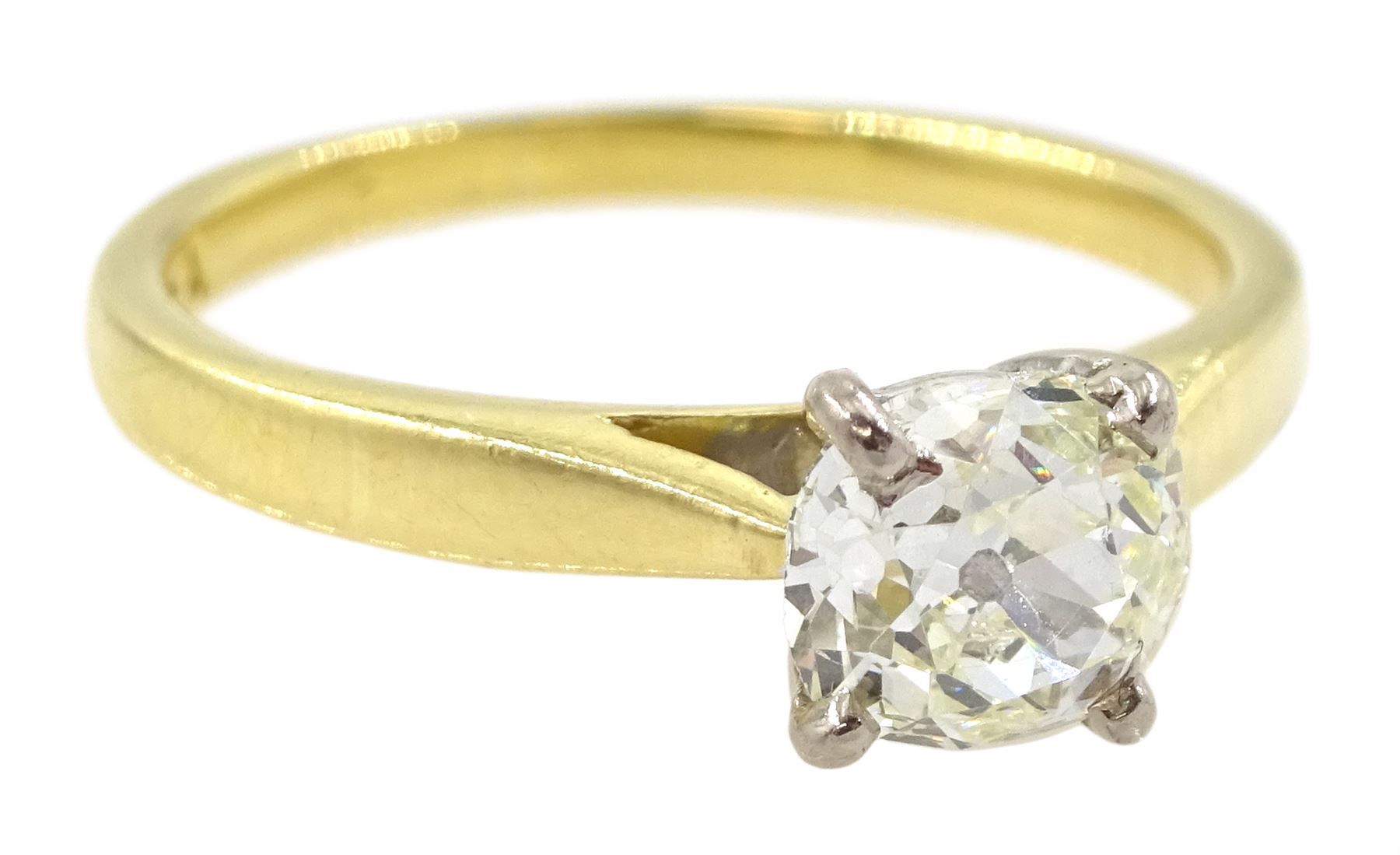 18ct gold single stone old cut diamond ring - Image 3 of 4