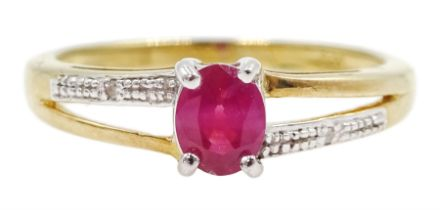 Silver-gilt ruby and diamond ring