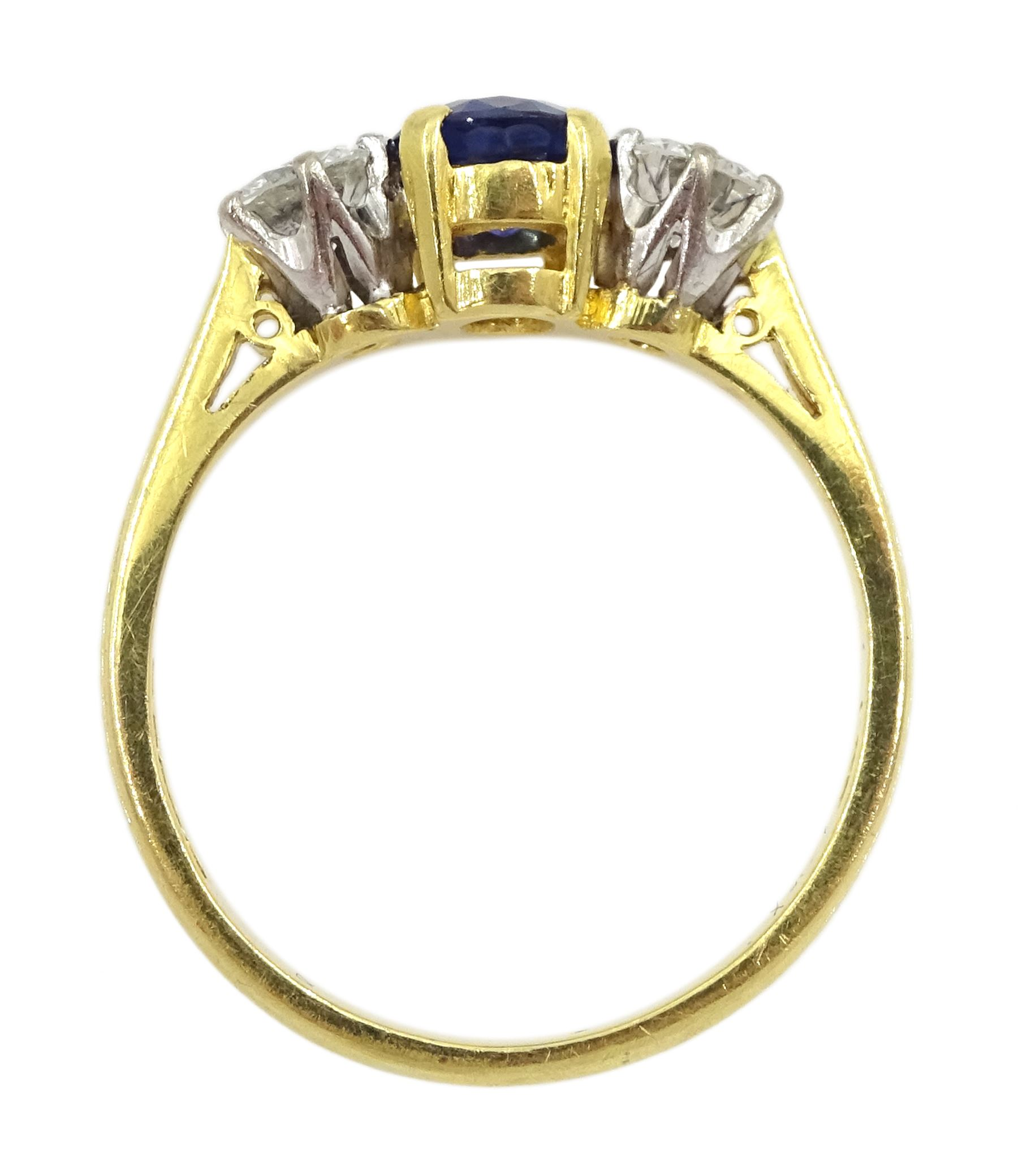 18ct gold three stone oval sapphire and round brilliant cut diamond ring - Image 2 of 4