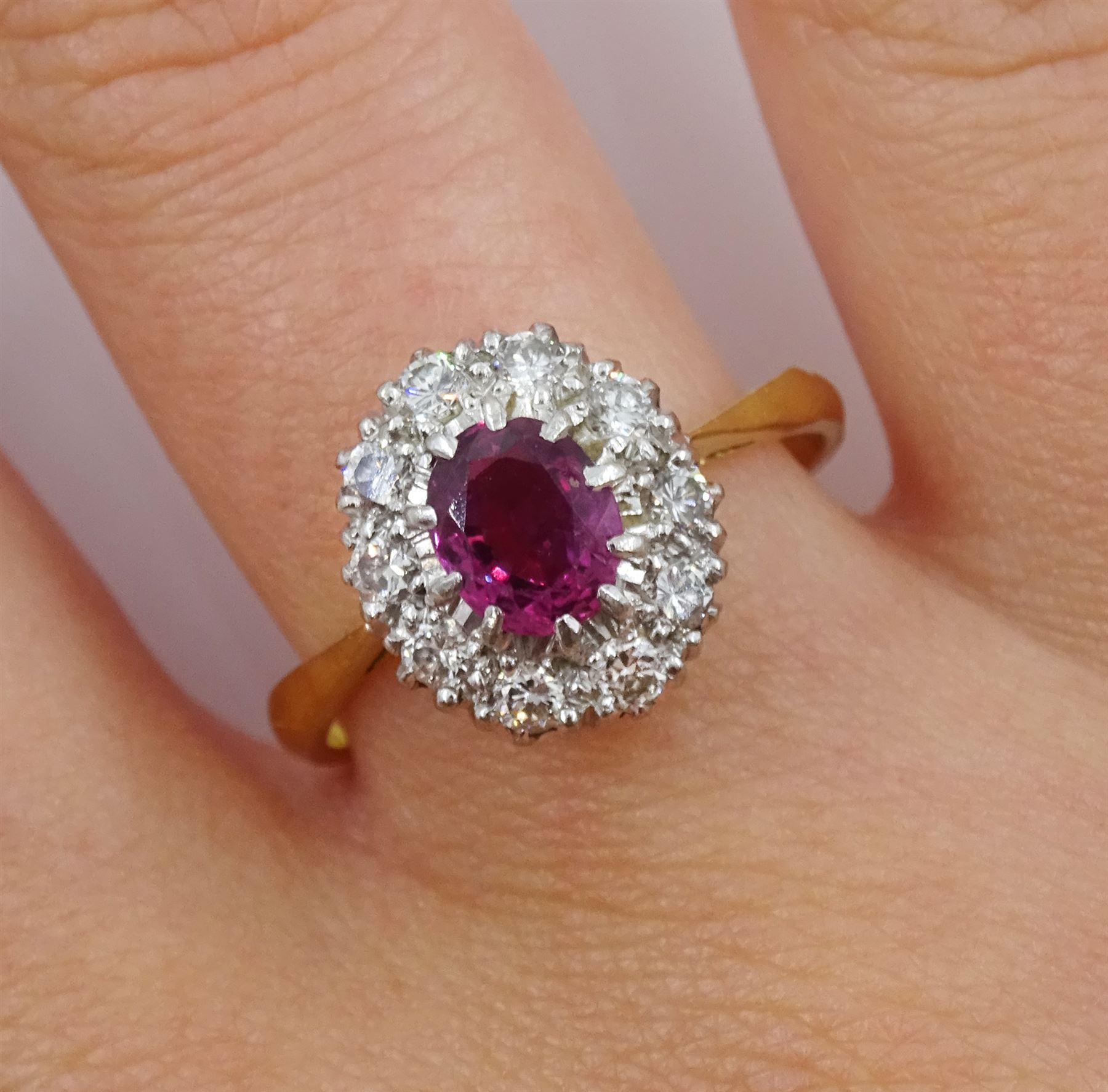 Gold oval ruby and diamond cluster ring - Image 2 of 4
