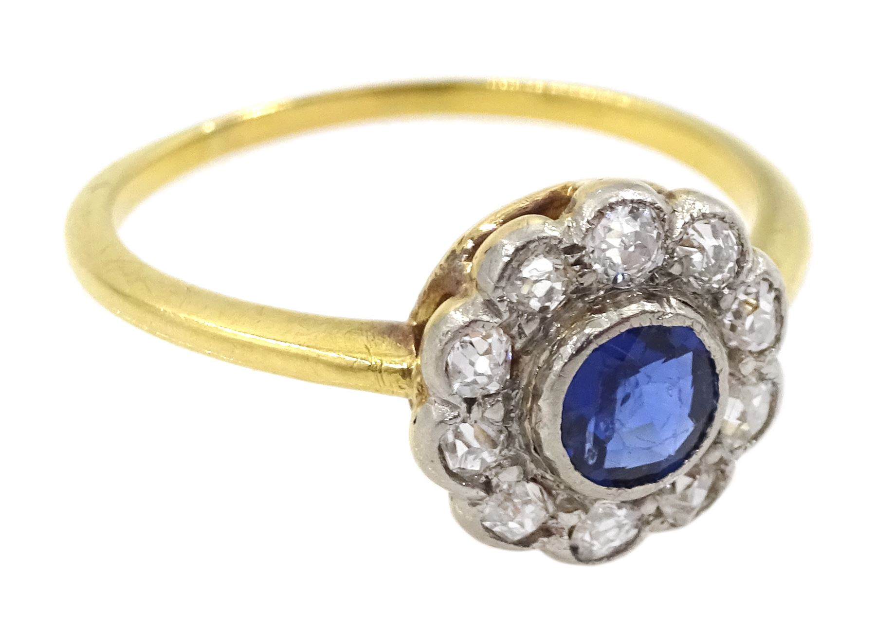 18ct gold round sapphire and old cut diamond cluster ring - Image 3 of 4