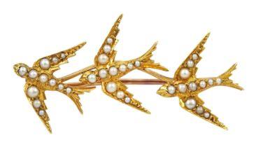 Victorian gold split pearl swallow brooch
