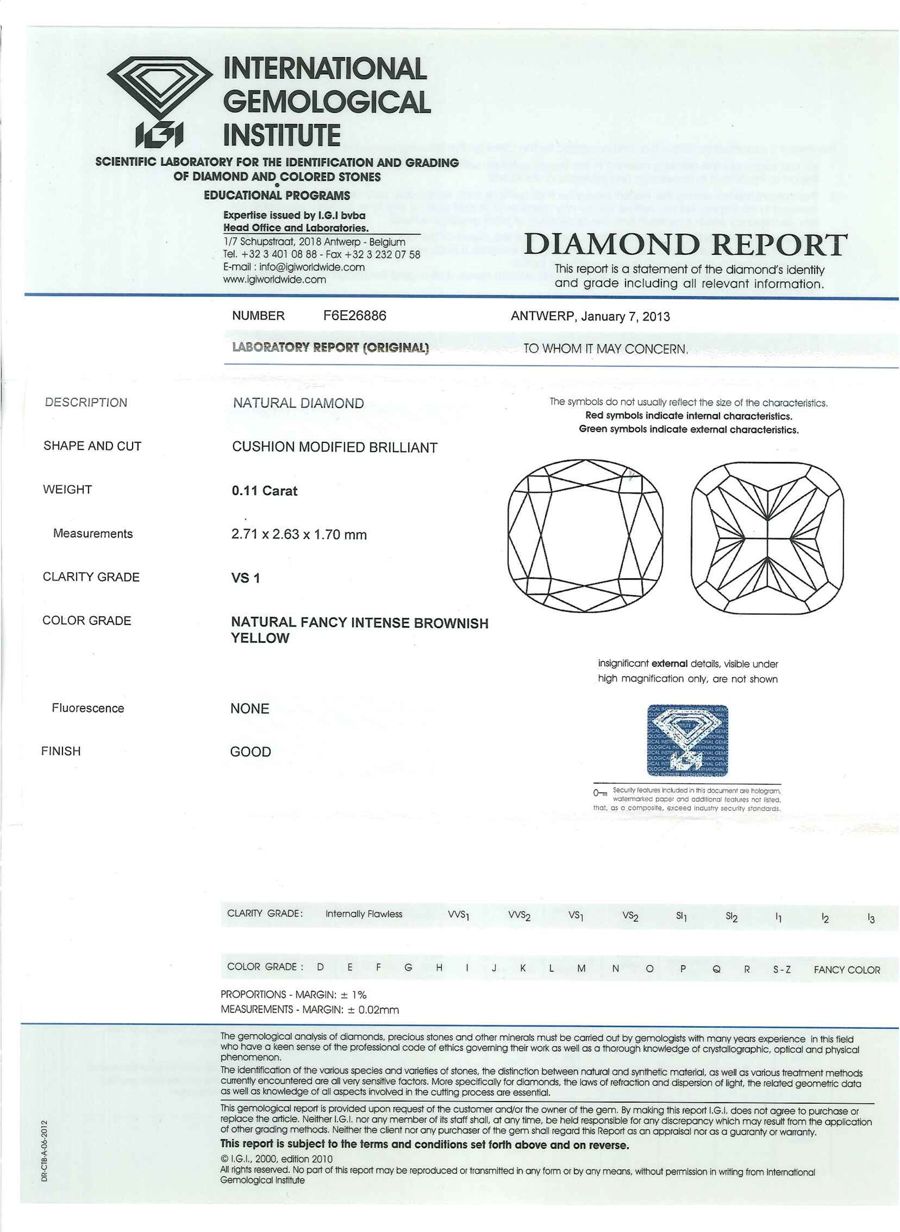 Two certified loose fancy coloured diamonds one round brilliant cut 'fancy light yellow' of 0.13 car - Image 6 of 6