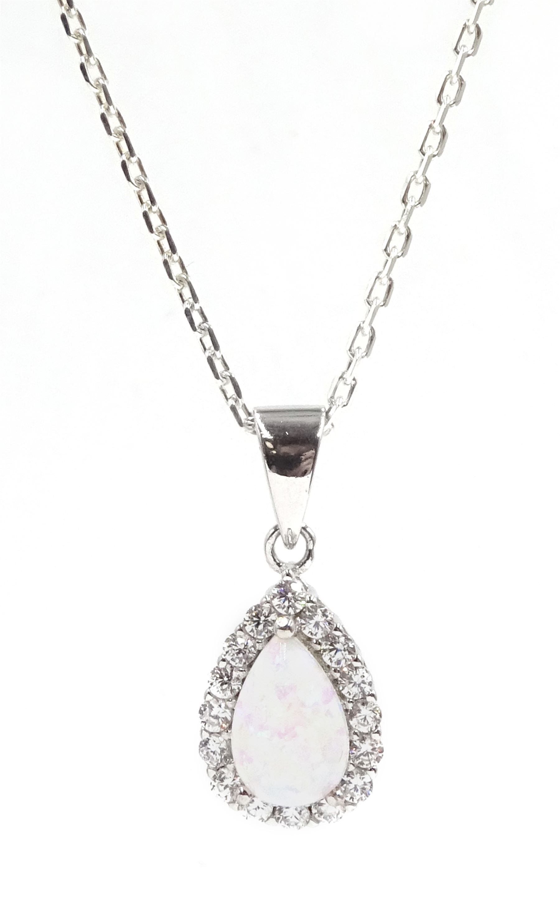 Silver opal and cubic zirconia pendant necklace