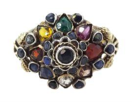 9ct gold multi gemstone stepped design ring