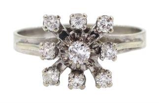 18ct white gold nine stone diamond square design ring