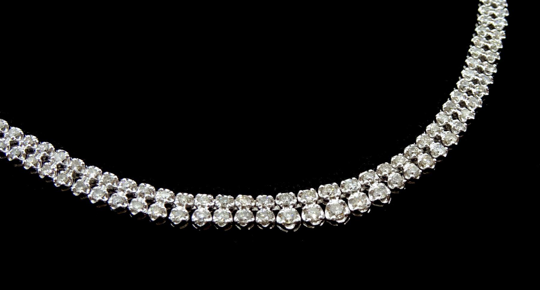 Platinum double row round brilliant cut diamond necklace - Image 2 of 3