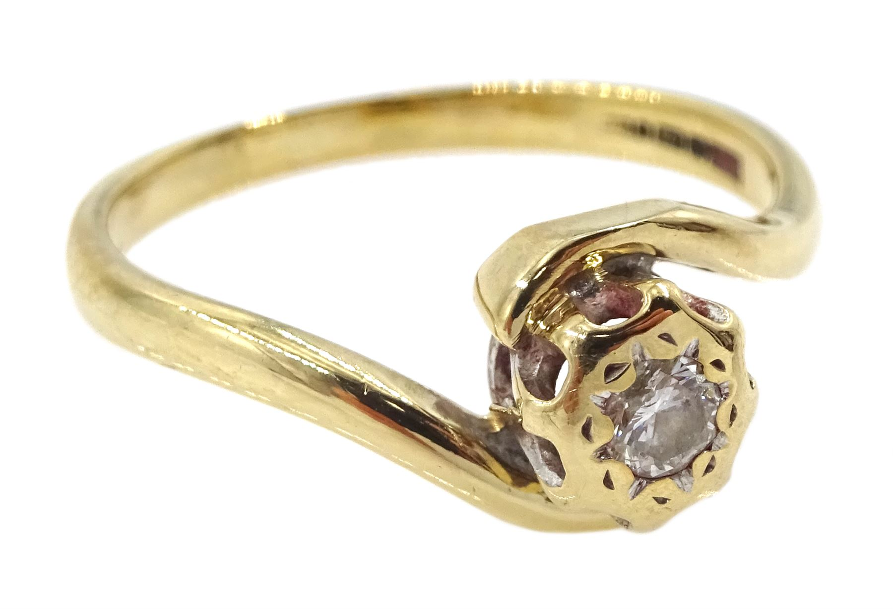 9ct gold single stone diamond ring - Image 3 of 4