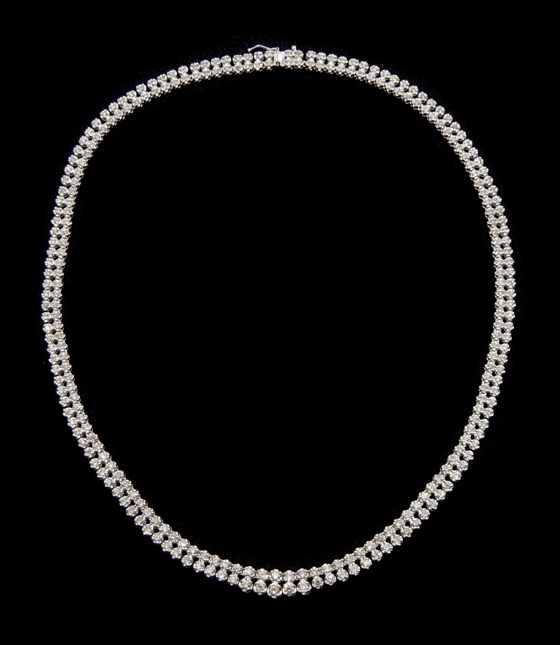 Platinum double row round brilliant cut diamond necklace