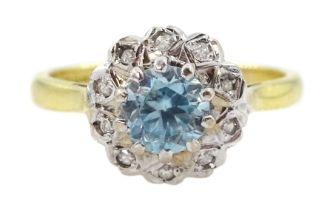 18ct gold aquamarine and diamond cluster ring