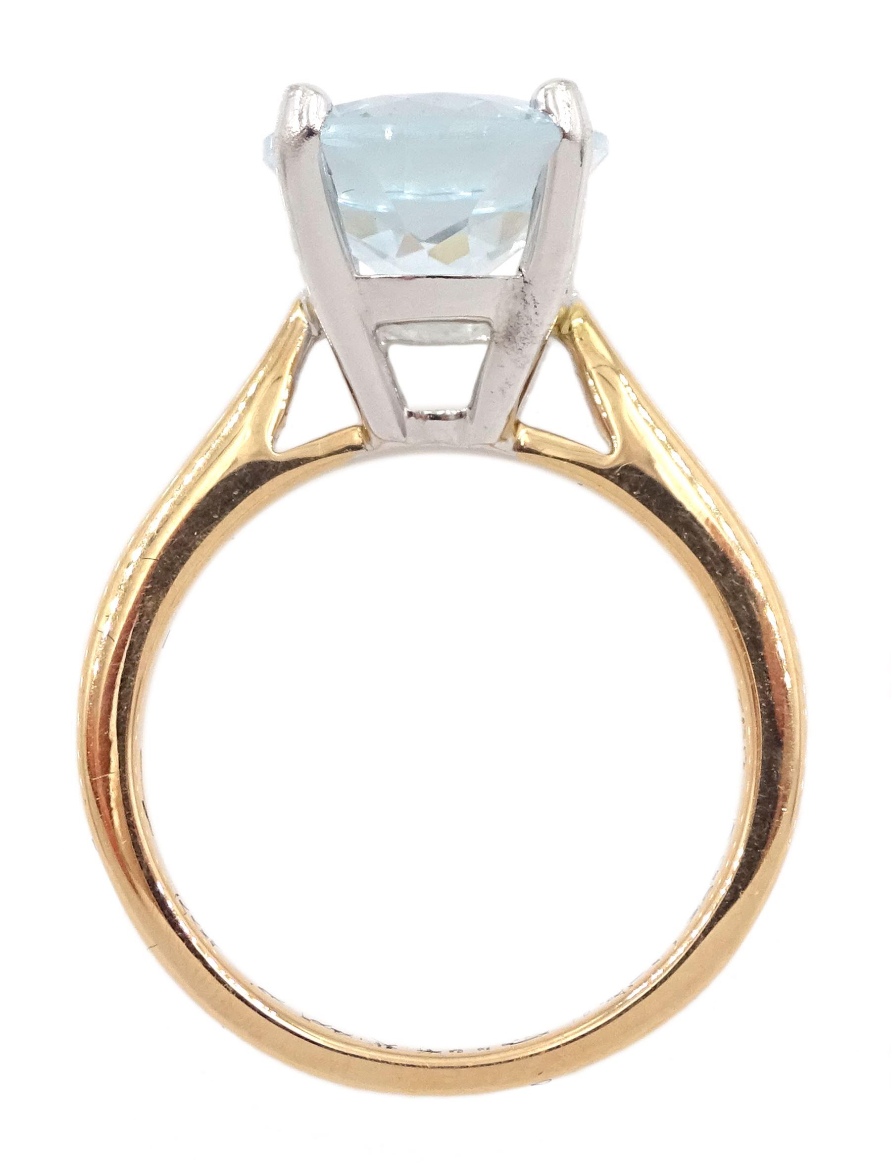 18ct rose gold single stone oval aquamarine ring - Image 4 of 4