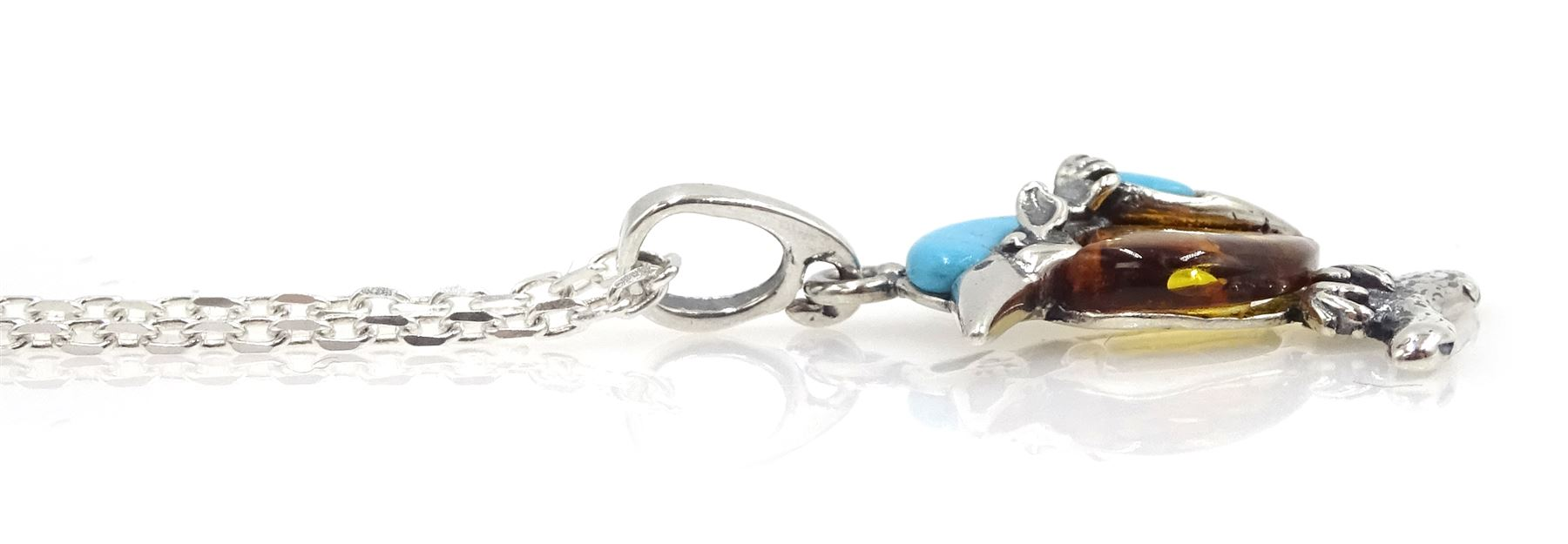 Silver turquoise and amber kingfisher pendant necklace - Image 2 of 2