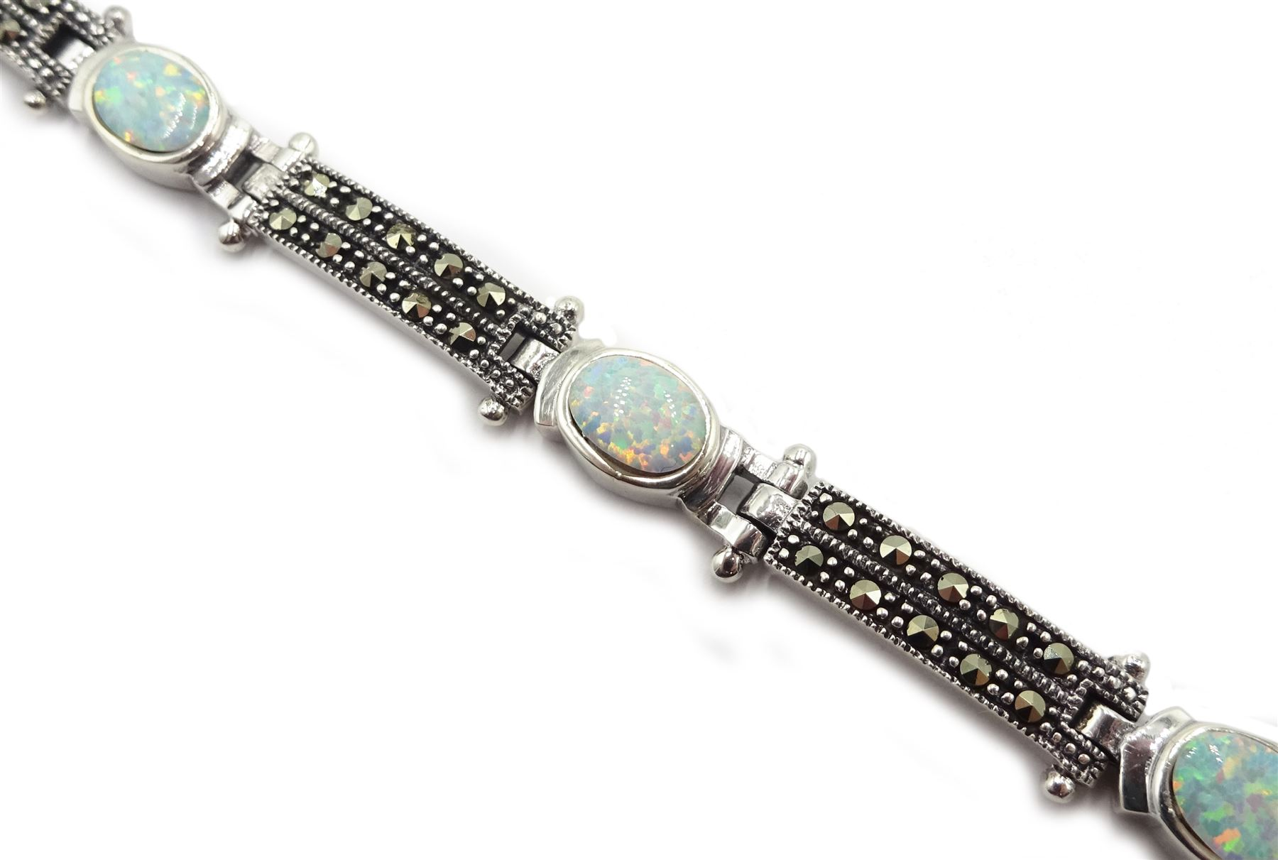 Silver opal and marcasite bracelet - Image 3 of 3