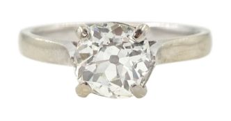 18ct white gold single stone old cut diamond ring