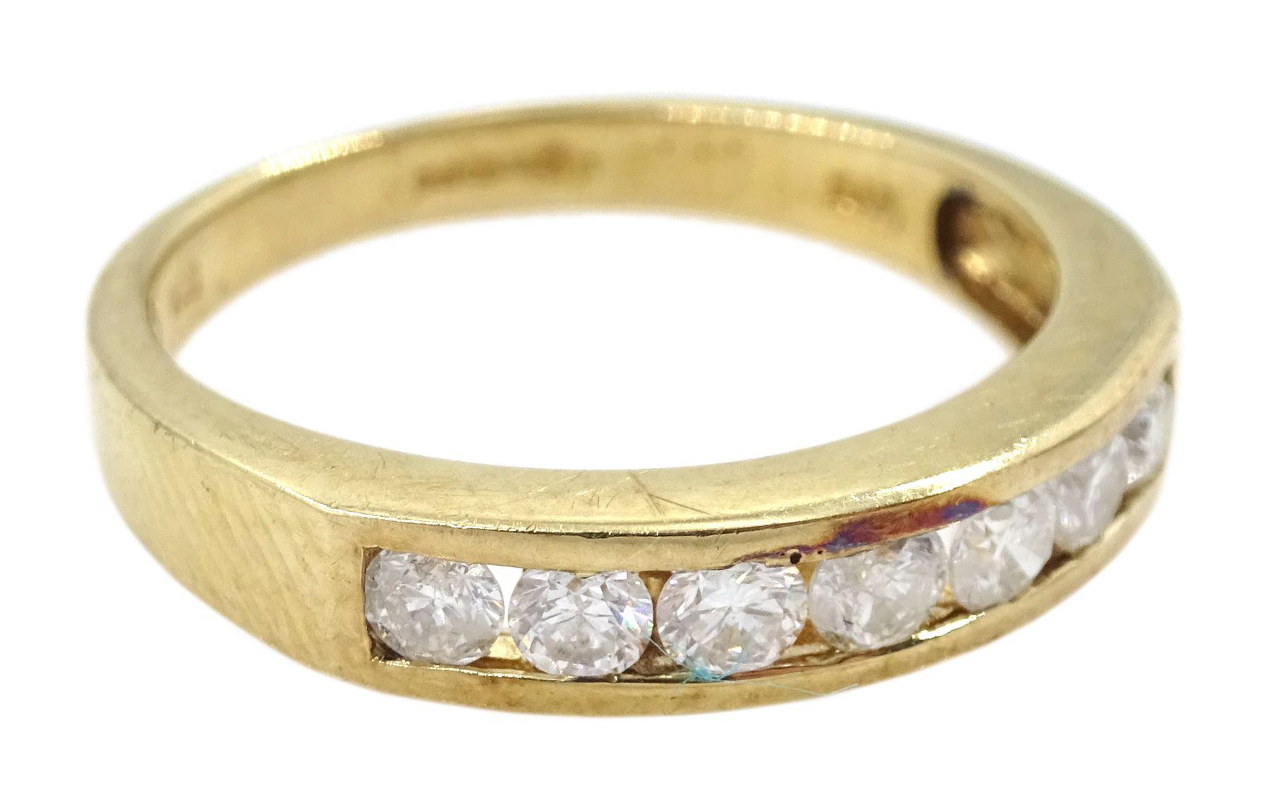 9ct gold round brilliant cut diamond seven stone channel set stone ring - Image 3 of 4