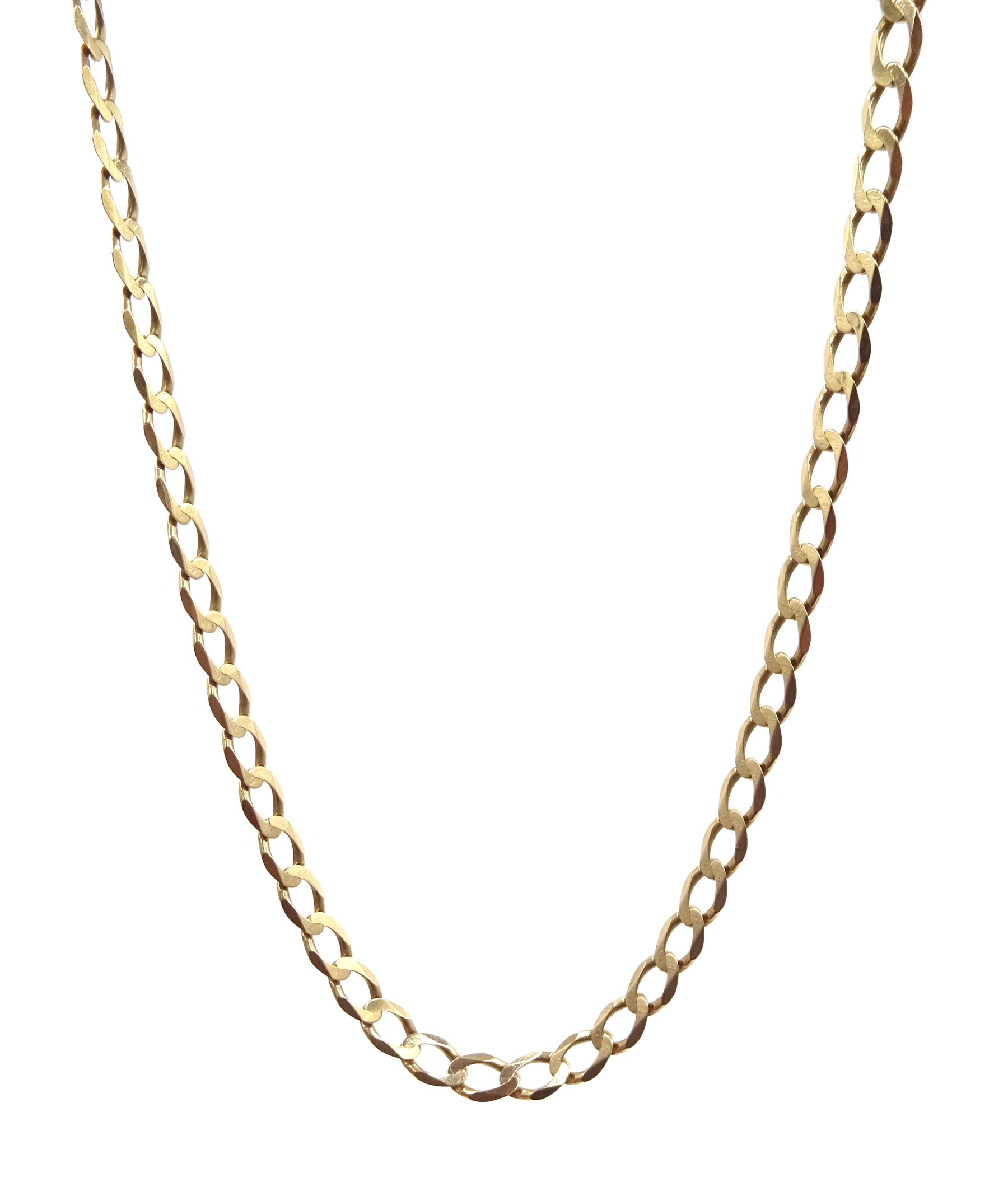 9ct gold flattened curb link necklace