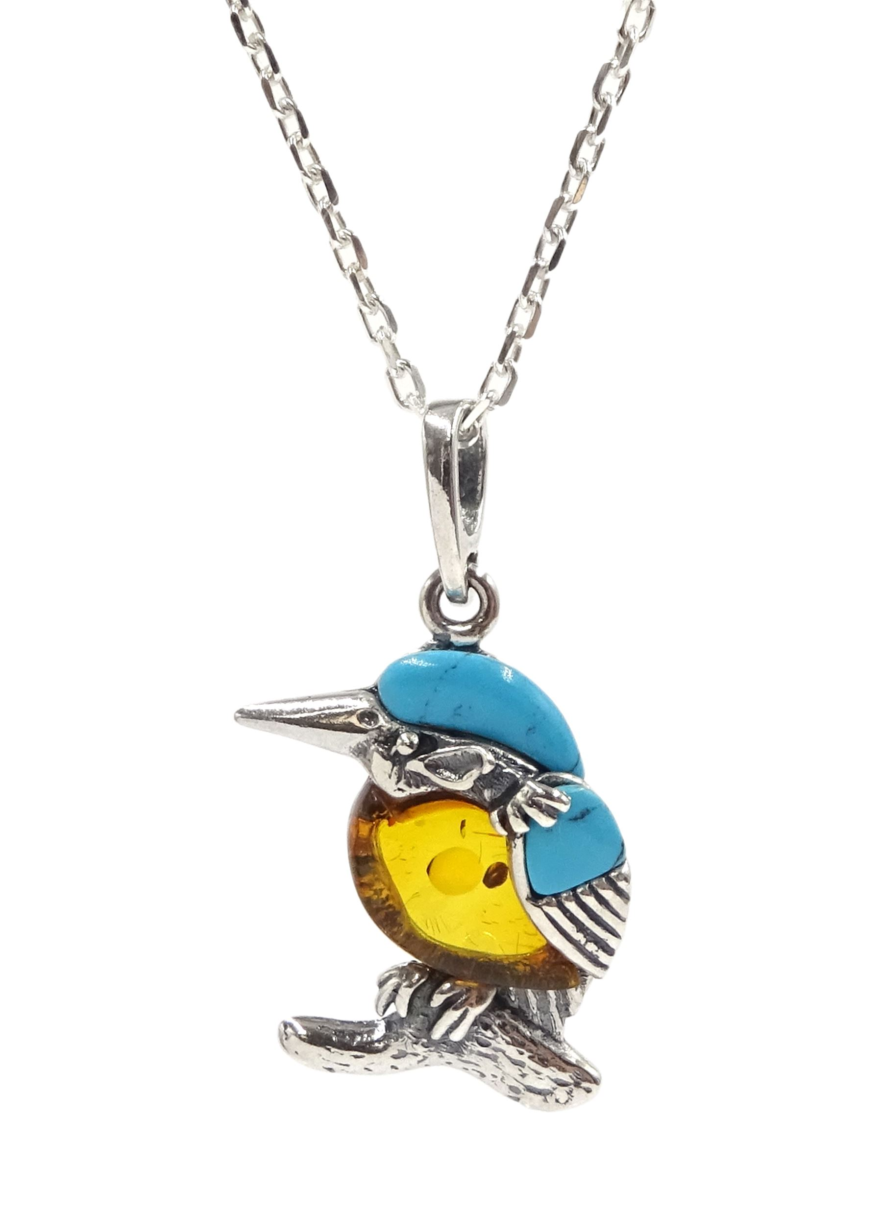 Silver turquoise and amber kingfisher pendant necklace