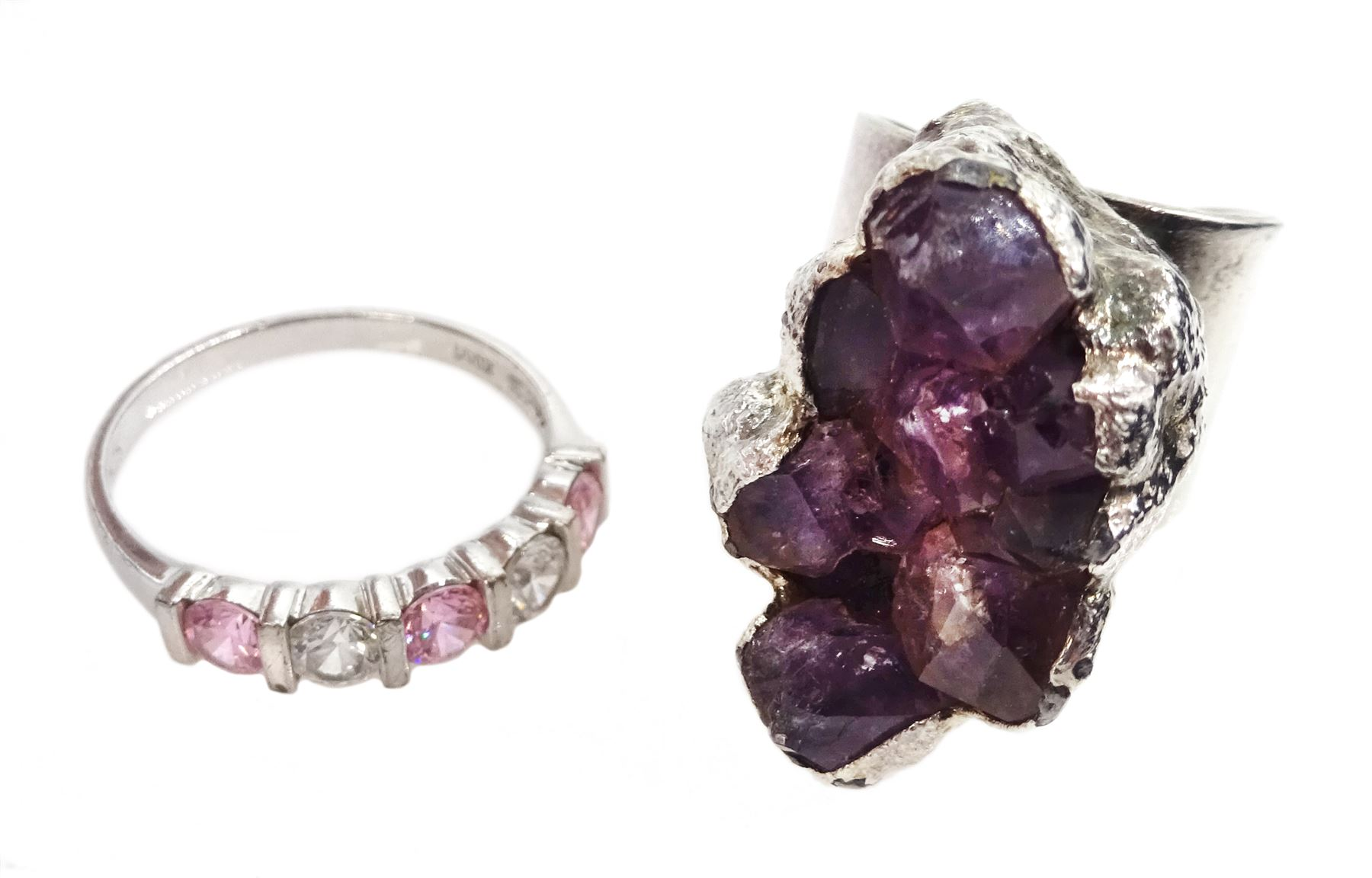 Modernist amethyst crystal ring by Jacob Hull For Buch And Deichmann Denmark - Image 2 of 2