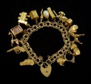 Gold link bracelet with heart locket and fifteen 9ct gold charms including train