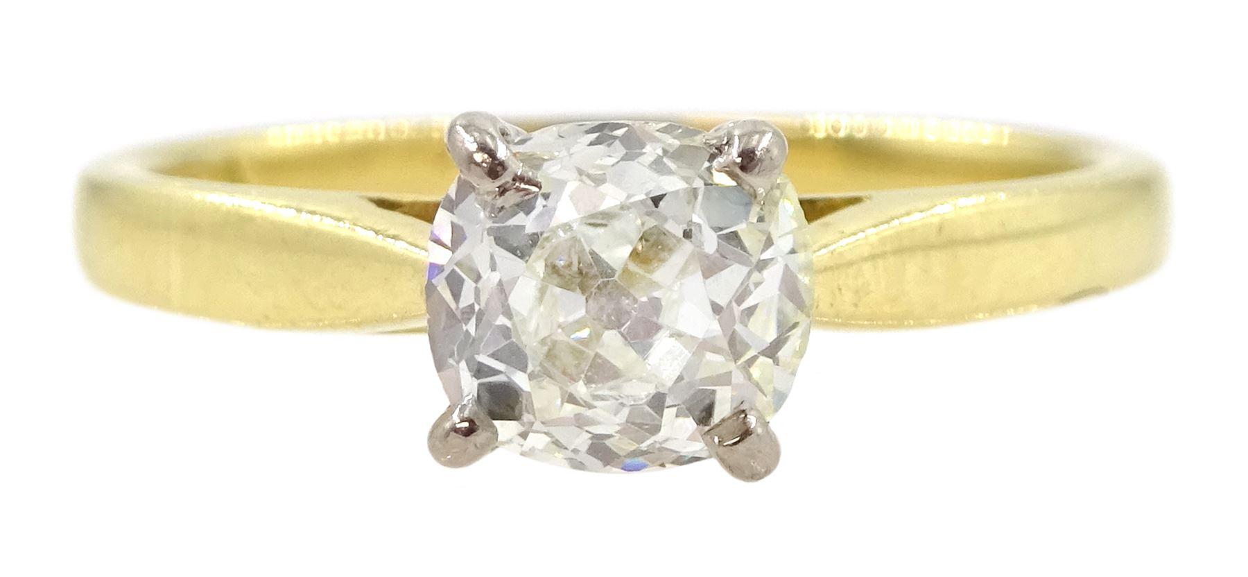 18ct gold single stone old cut diamond ring