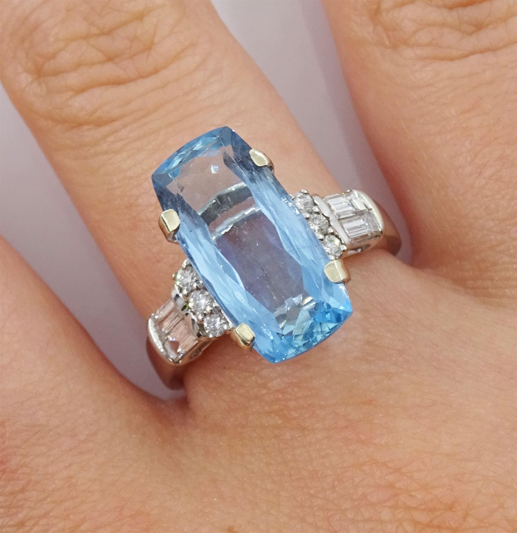 18ct white gold aquamarine ring - Image 2 of 4