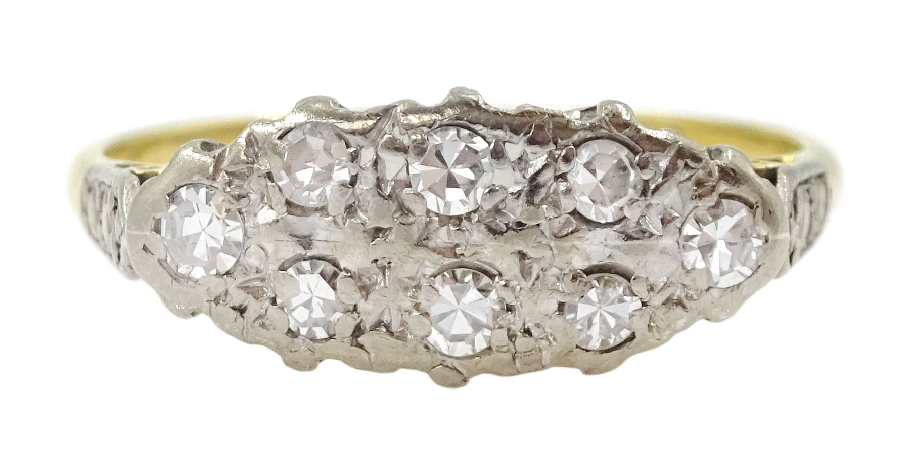 18ct gold two row old cut diamond ring
