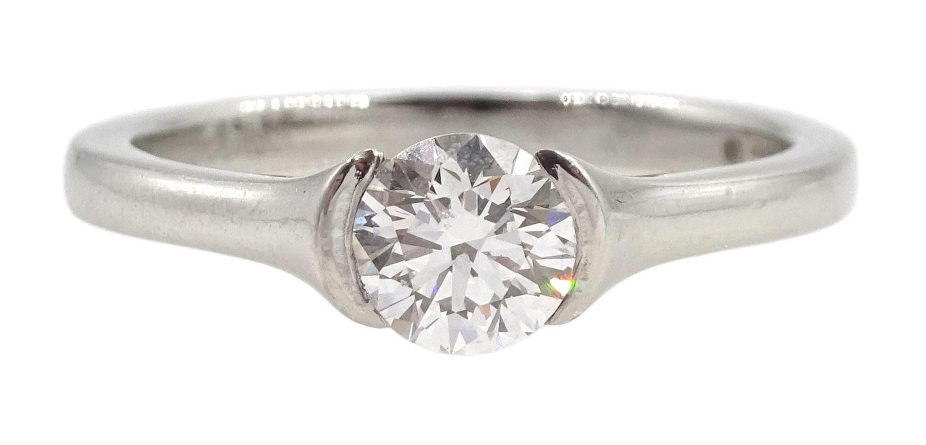 Platinum single stone round brilliant cut diamond