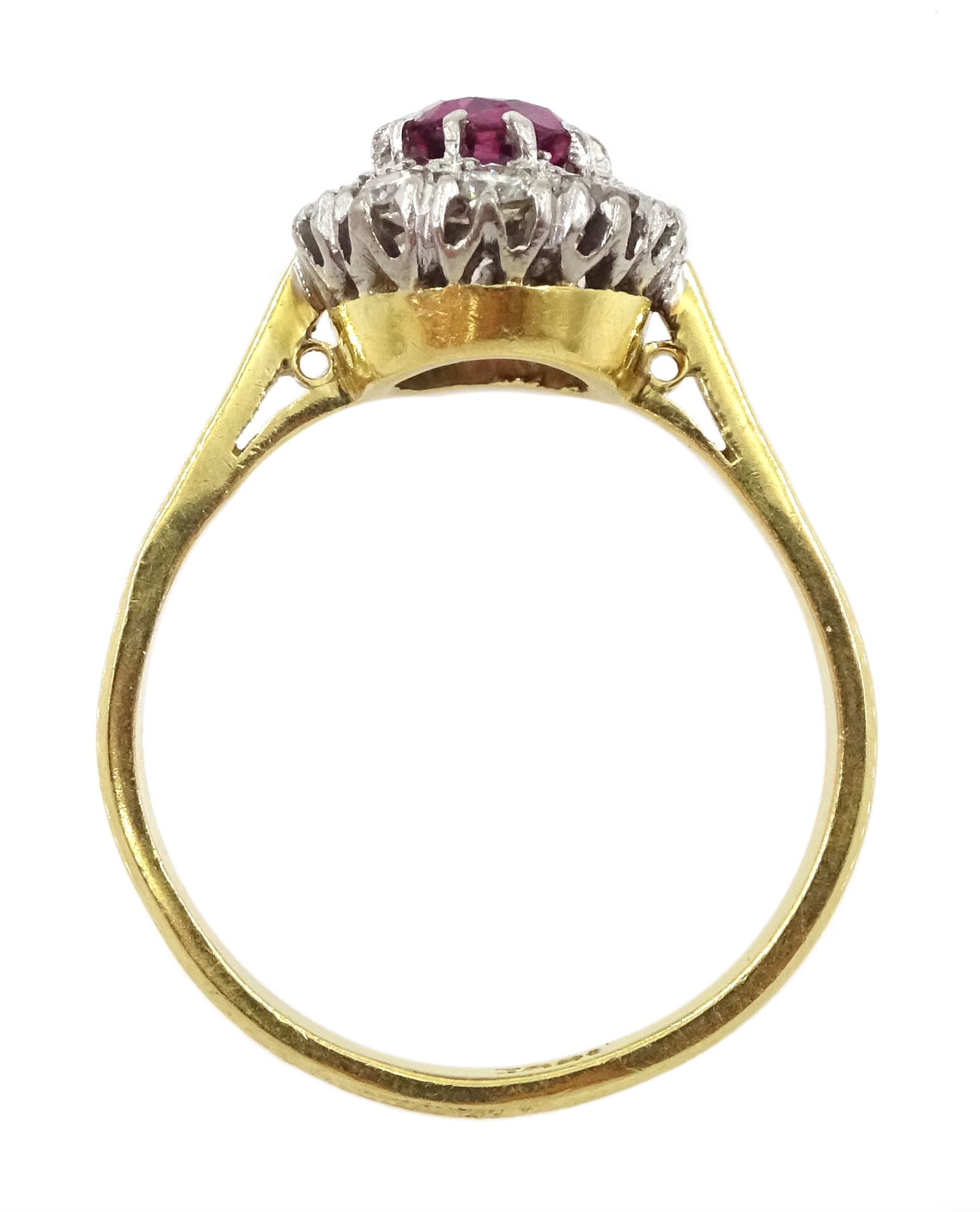 Gold oval ruby and diamond cluster ring - Image 4 of 4