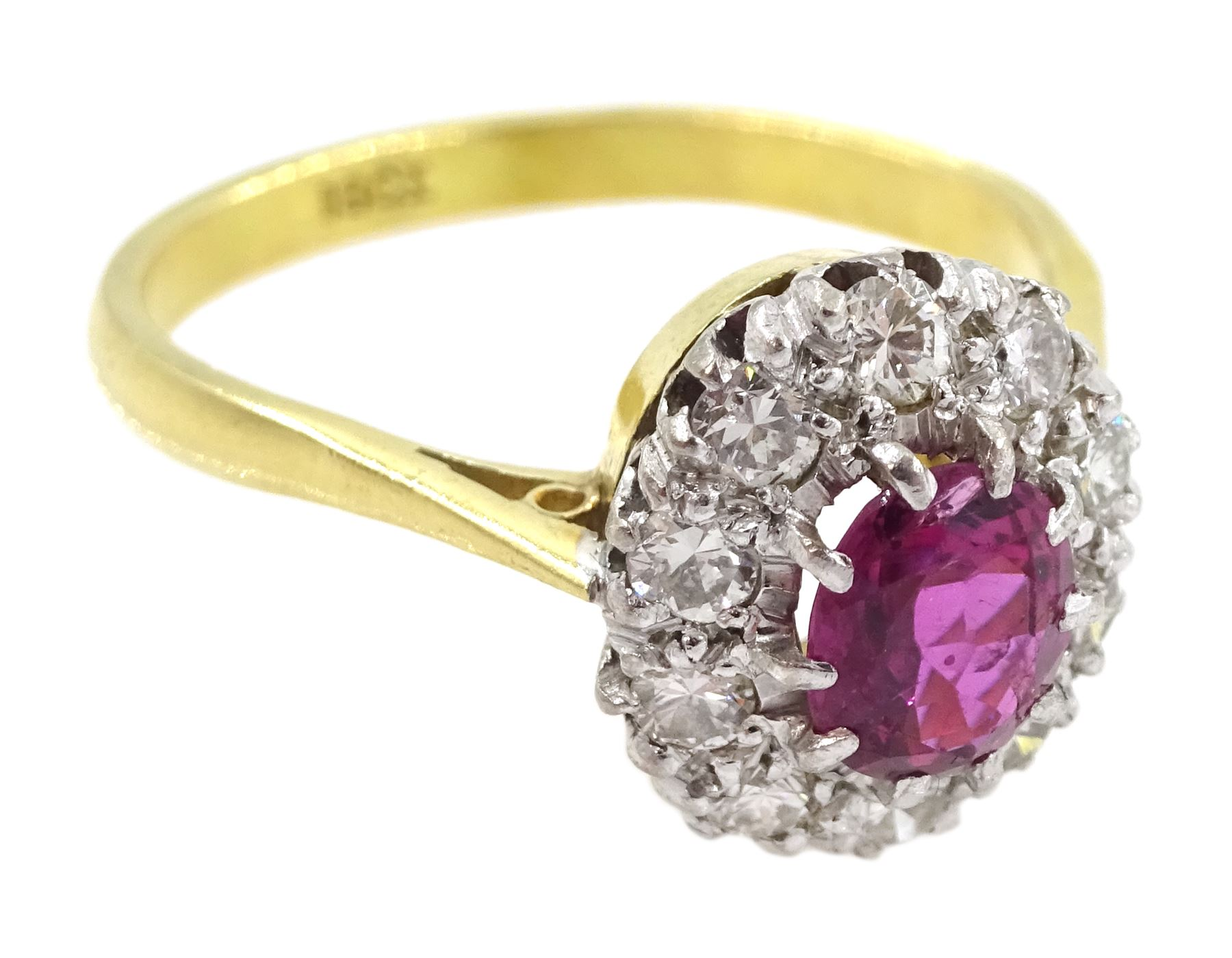 Gold oval ruby and diamond cluster ring - Image 3 of 4