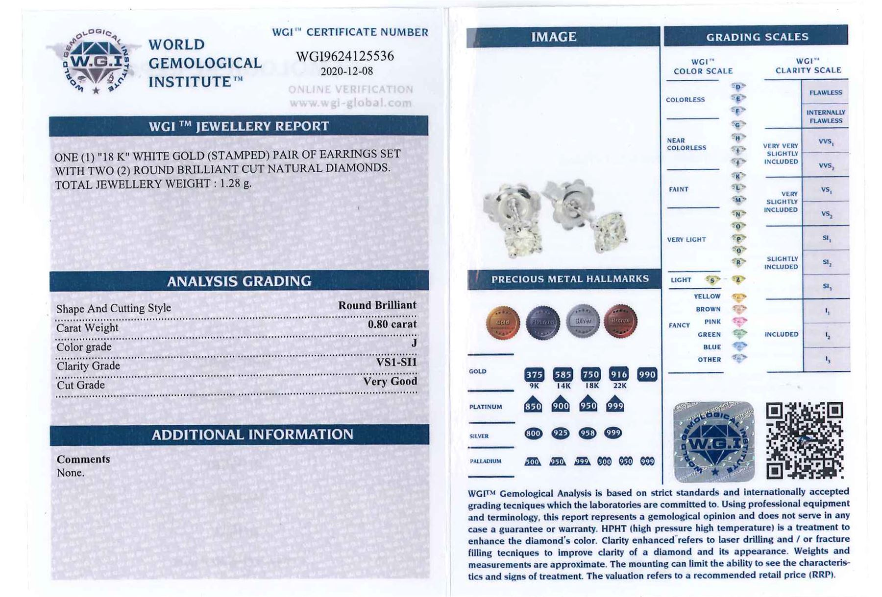 Pair of 18ct white gold round brilliant cut diamond stud earrings - Image 2 of 3