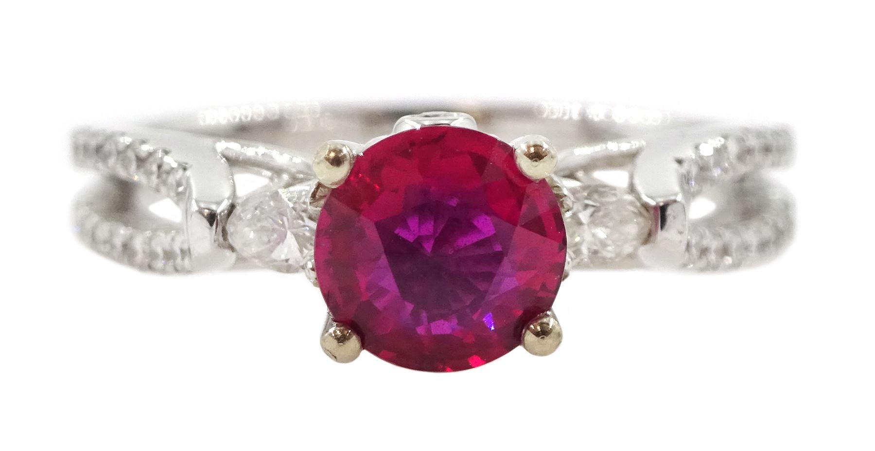 18ct white gold round ruby ring