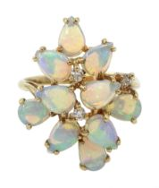 9ct gold opal and diamond stepped design ring