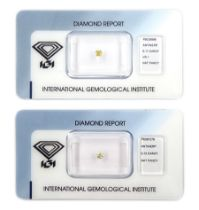 Two certified loose fancy coloured diamonds one round brilliant cut 'fancy light yellow' of 0.13 car