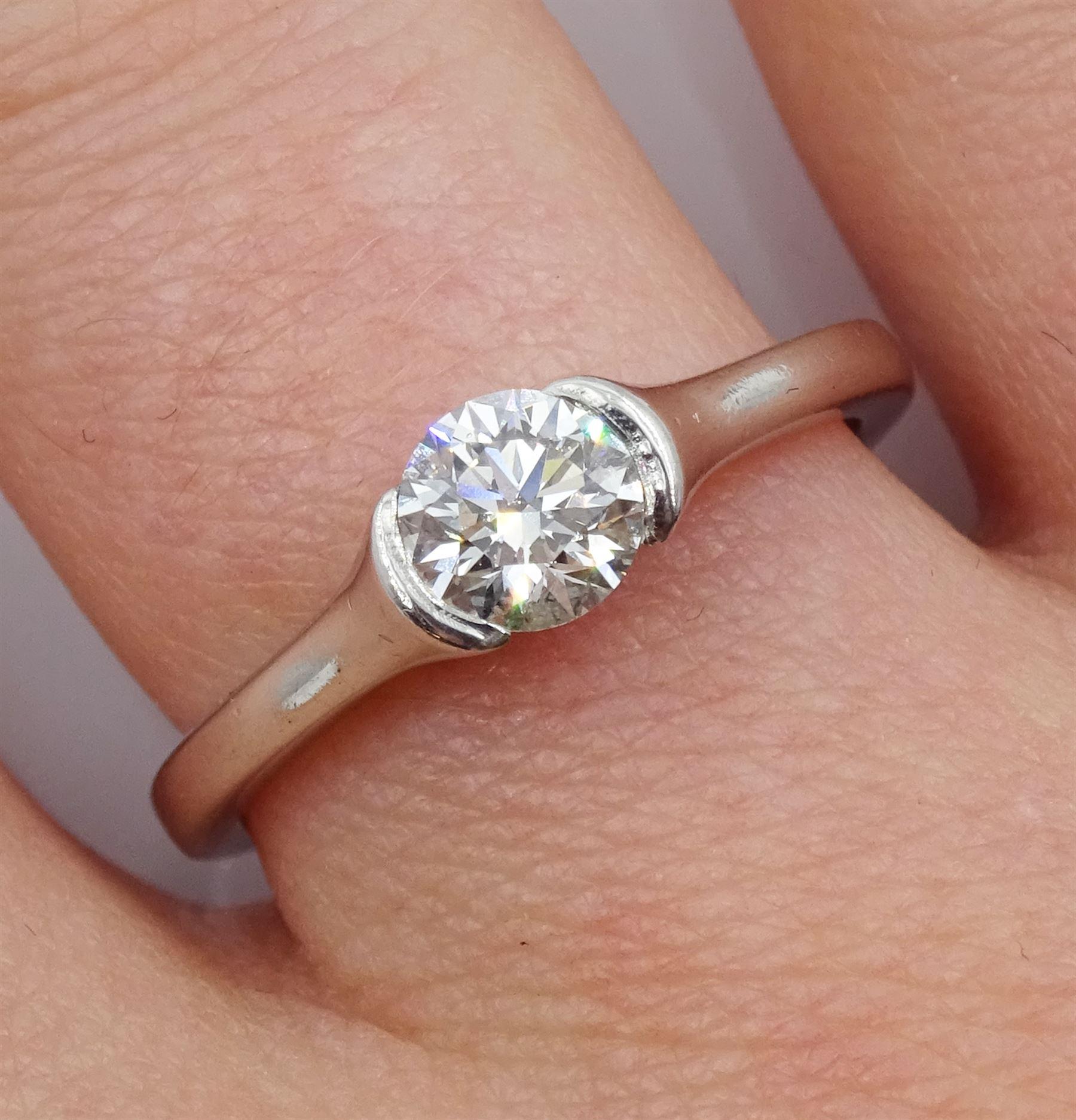 Platinum single stone round brilliant cut diamond - Image 3 of 5