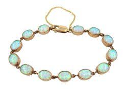 9ct gold opal link bracelet