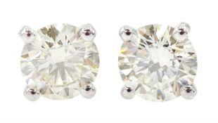 Pair of 18ct white gold round brilliant cut diamond stud earrings