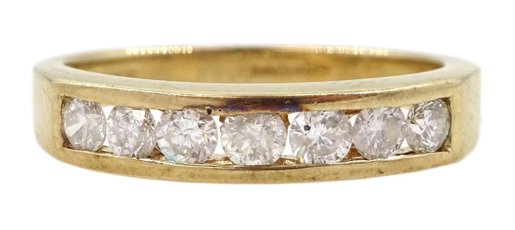 9ct gold round brilliant cut diamond seven stone channel set stone ring