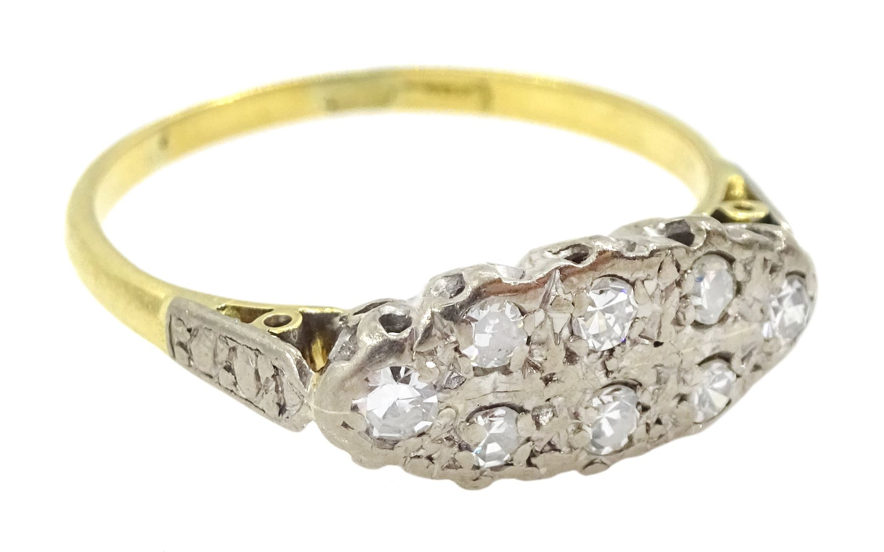 18ct gold two row old cut diamond ring - Image 3 of 4