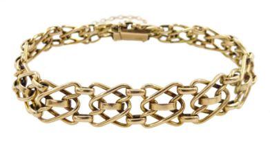 Gold fancy link chain bracelet
