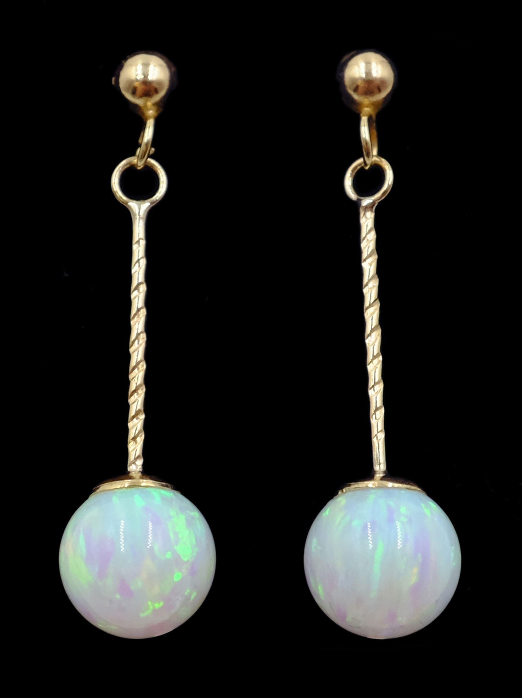 Pair of 9ct gold opal pendant earrings