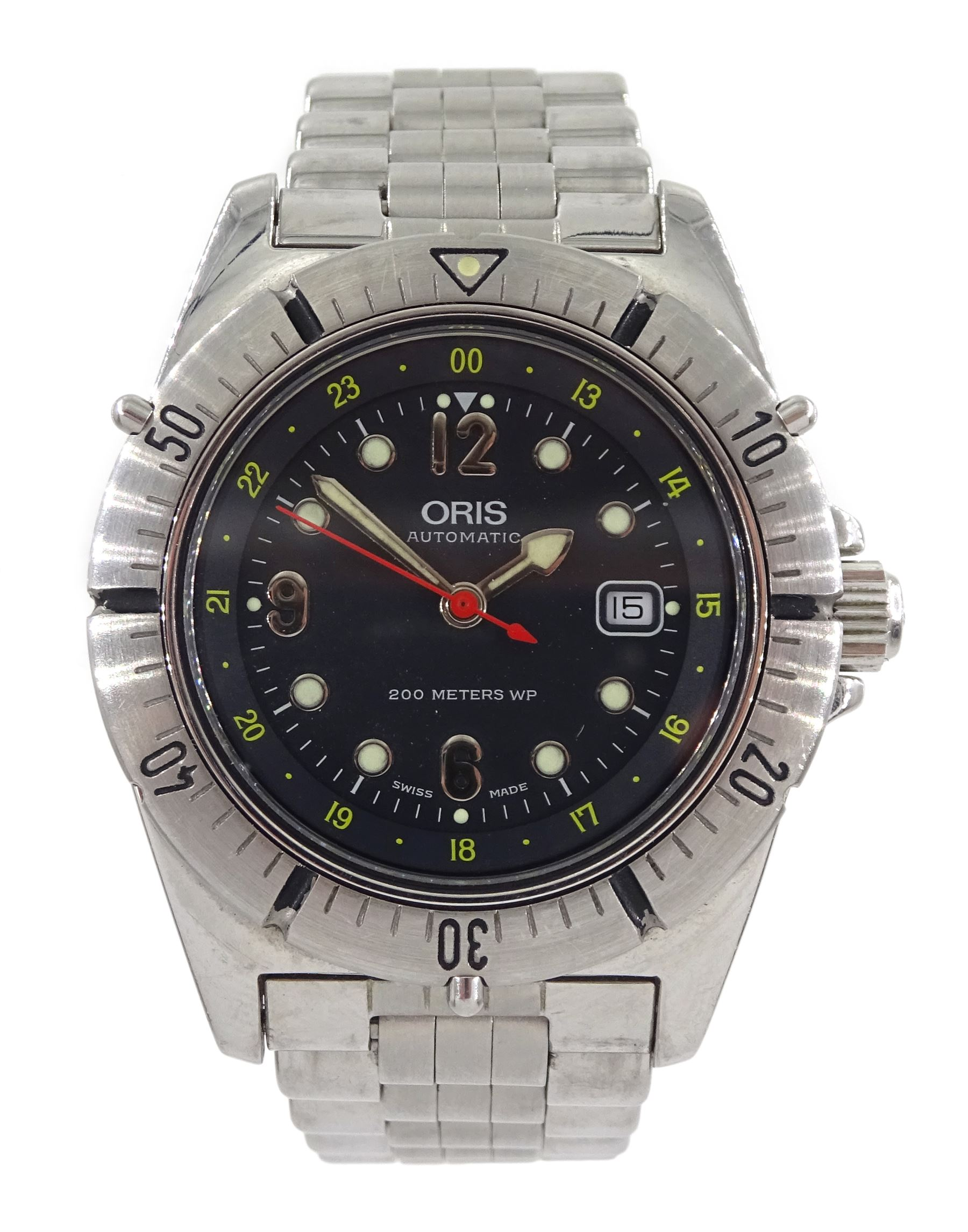 Oris automatic stainless steel divers wristwatch