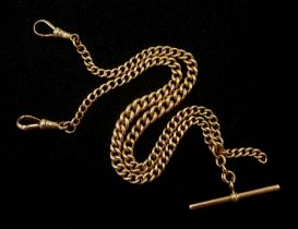 Early 20th century 9ct rose gold tapering Albert chain with T bar and clips by William Griffiths & S