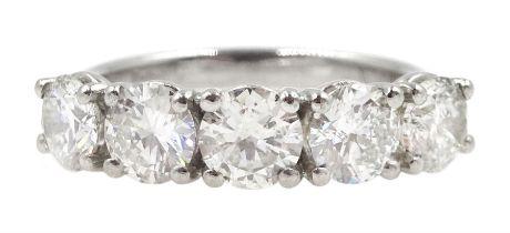 Platinum five stone round brilliant cut diamond ring hallmarked